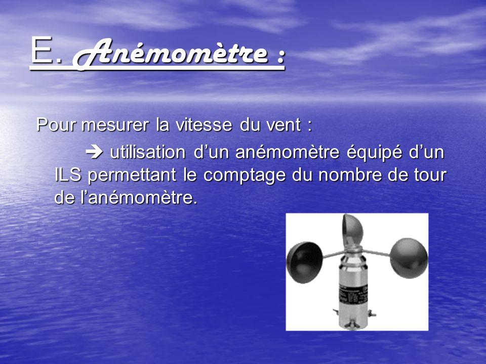 E. Anémomètre : Pour mesurer la vitesse du vent : utilisation dun anémomètre équipé dun ILS permettant le comptage du nombre de tour de lanémomètre. u
