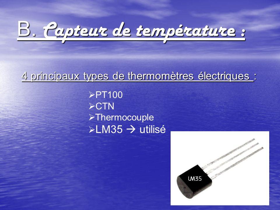 B. Capteur de température : 4 principaux types de thermomètres électriques : PT100 CTN Thermocouple LM35 utilisé