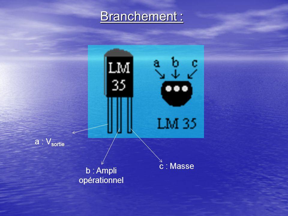 Branchement : a : V sortie b : Ampli opérationnel c : Masse