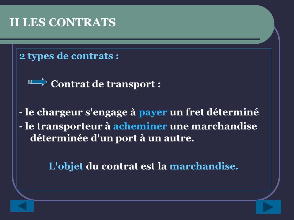 SYNTHESE C est un contrat entre un chargeur et un armateur.