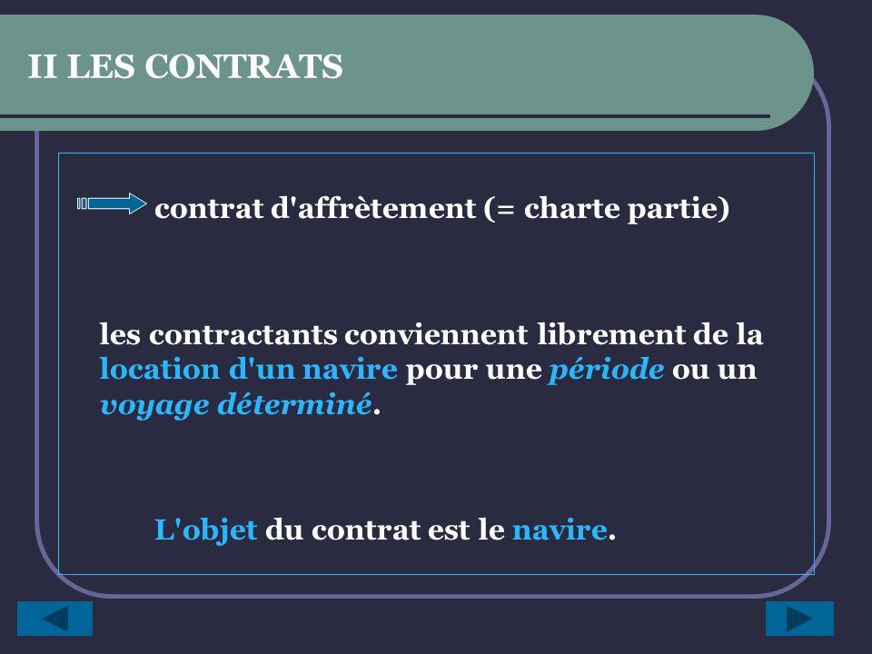 II LES CONTRATS 2 types de contrats : Contrat de transport : - le chargeur s engage à payer un fret déterminé - le transporteur à acheminer une marchandise déterminée d un port à un autre.