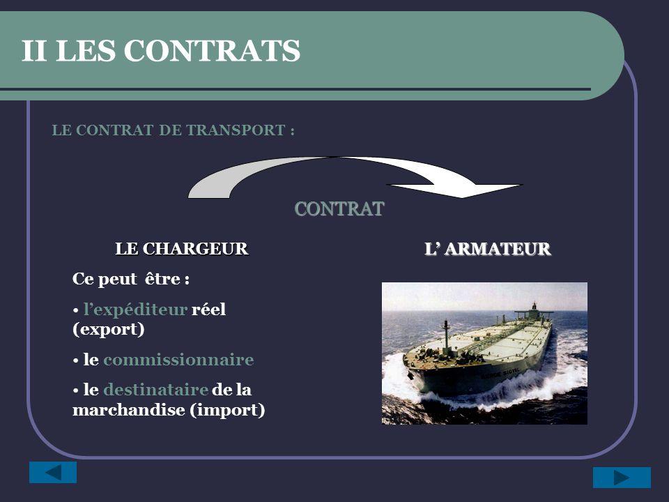 LE CONTRAT DE TRANSPORT : LE CHARGEUR Ce peut être : lexpéditeur réel (export) le commissionnaire le destinataire de la marchandise (import) L ARMATEUR CONTRAT