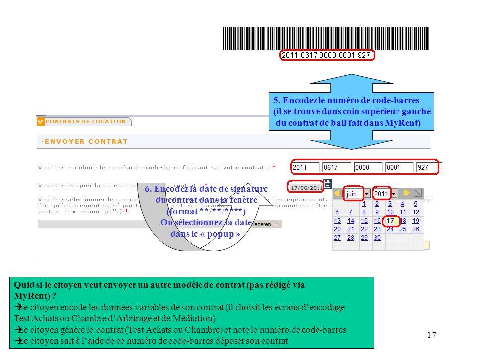 My Rent demo 20110201117 Quid si le citoyen veut envoyer un autre modèle de contrat (pas rédigé via MyRent) ? Le citoyen encode les données variables