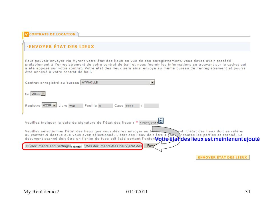 My Rent demo 20110201131 Votre état des lieux est maintenant ajouté