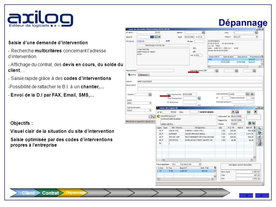 Client Contrat Dépannage Main Courante (RI) Cde Maintenance Corrective Demande dIntervention (DI) Intervention : Curative, Préventive, Travaux Neufs,