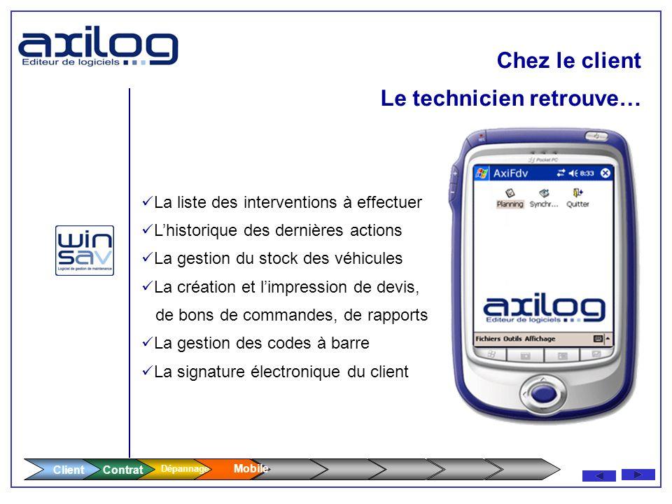 Géo Localisation (GPS) Transmission GPRS - Envoi du bon dintervention sur le mobile du technicien - Modification en temps réel de son planning Modific