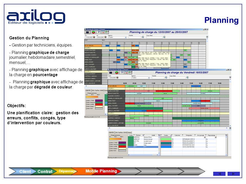 Client Contrat Dépannage Planning - Coordonnes du technicien - Équipe rattachée Équipe rattachée - Coût horaire, taux de commission Coût horaire, taux