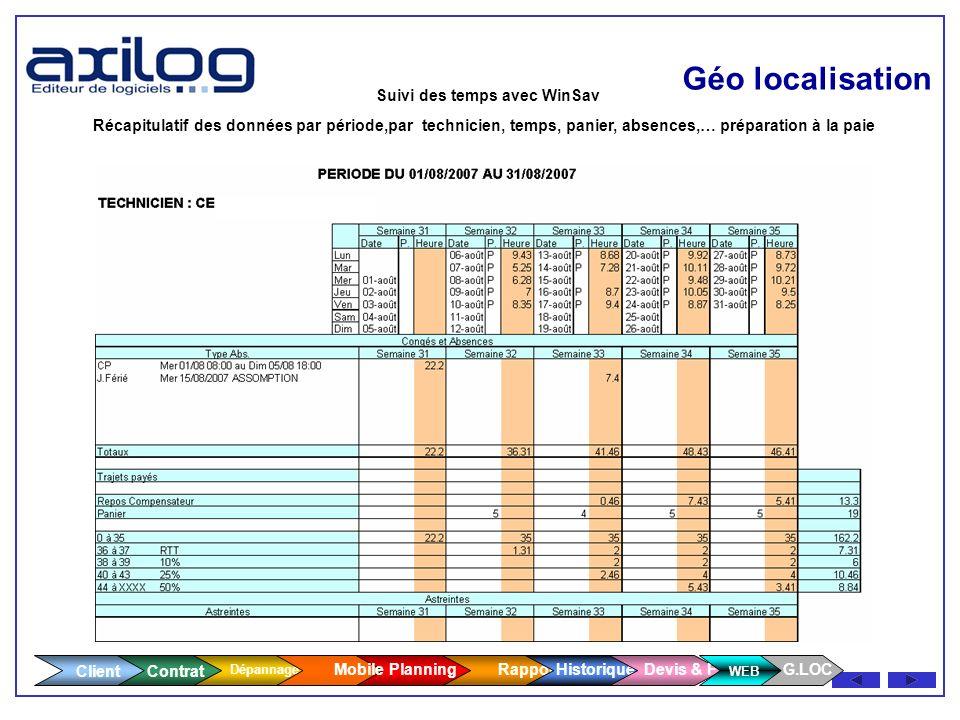 Client Contrat Dépannage Géo localisation Suivi des temps avec WinSav - Détail sur la journée Détail sur la journée - N° de lintervention N° de linter