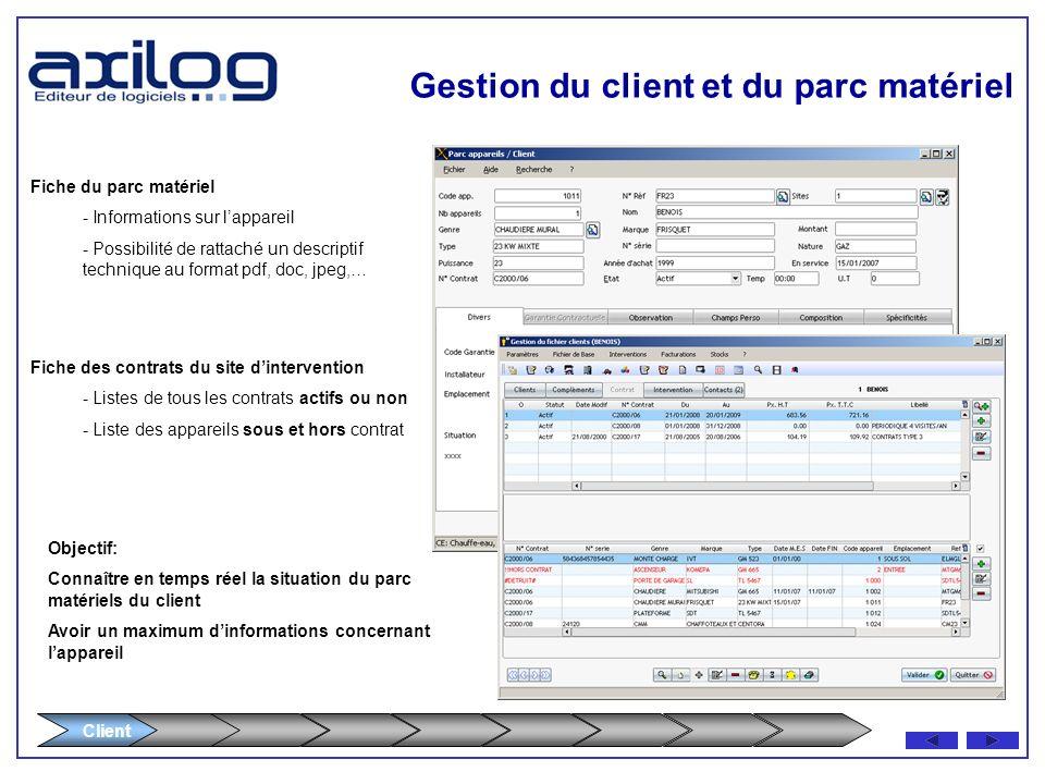 Client Gestion du client et du parc matériel -Fiche de ladresse dinterventionFiche de ladresse dintervention - Coordonnées détaillées du site Coordonn