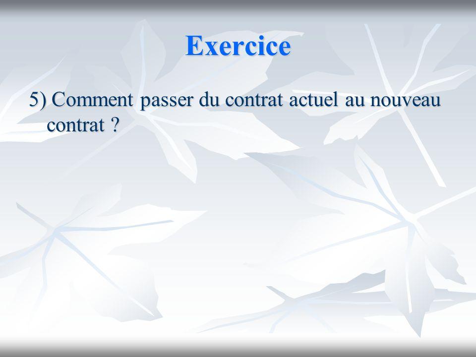 Exercice 5) Comment passer du contrat actuel au nouveau contrat ?