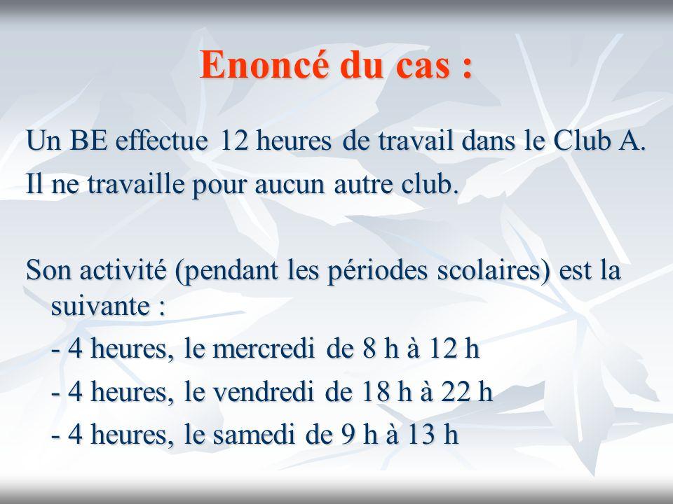 Exercice complémentaire n°2 Enoncé : Un BE travaille pour deux clubs (avec CDII).
