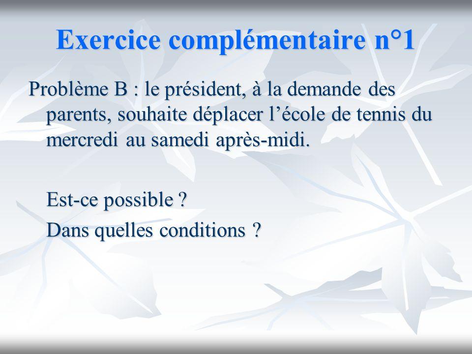 Exercice complémentaire n°1 Problème B : le président, à la demande des parents, souhaite déplacer lécole de tennis du mercredi au samedi après-midi.