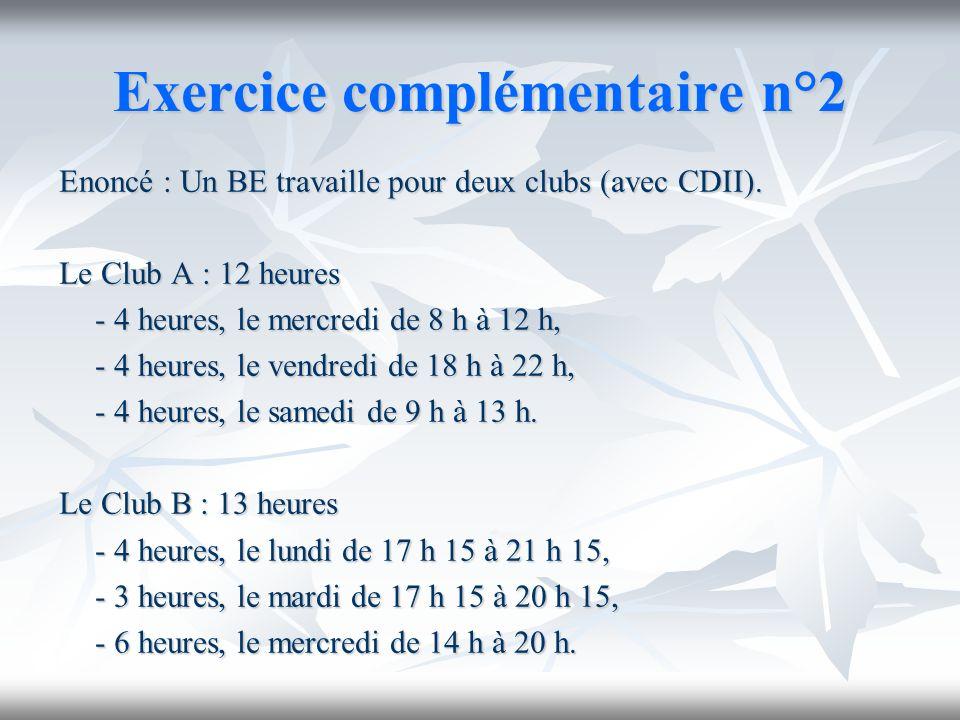 Exercice complémentaire n°2 Enoncé : Un BE travaille pour deux clubs (avec CDII). Le Club A : 12 heures - 4 heures, le mercredi de 8 h à 12 h, - 4 heu