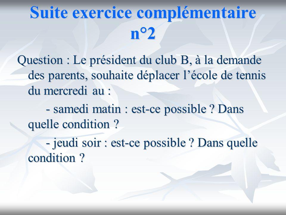 Suite exercice complémentaire n°2 Question : Le président du club B, à la demande des parents, souhaite déplacer lécole de tennis du mercredi au : - s