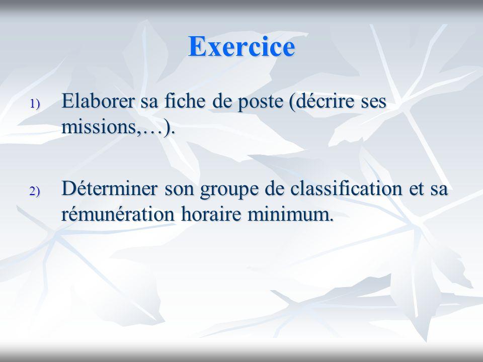 Exercice 1) Elaborer sa fiche de poste (décrire ses missions,…). 2) Déterminer son groupe de classification et sa rémunération horaire minimum.
