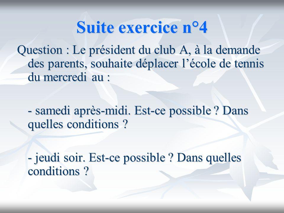 Suite exercice n°4 Question : Le président du club A, à la demande des parents, souhaite déplacer lécole de tennis du mercredi au : - samedi après-mid