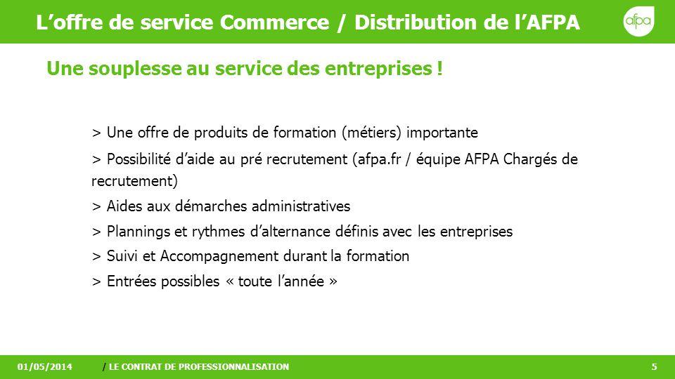 Loffre de service Commerce / Distribution de lAFPA 01/05/2014/ LE CONTRAT DE PROFESSIONNALISATION5 Une souplesse au service des entreprises ! > Une of