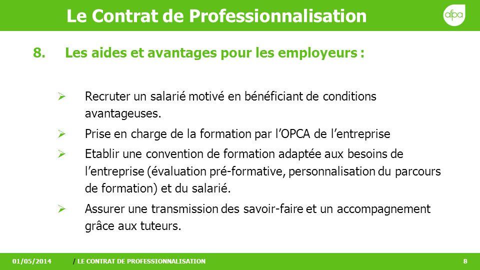 Le Contrat de Professionnalisation 01/05/2014/ LE CONTRAT DE PROFESSIONNALISATION9 9.Des avantages pour les salariés : Acquérir une qualification reconnue en situation de travail en étant rémunéré et quel que soit le niveau de formation initial.