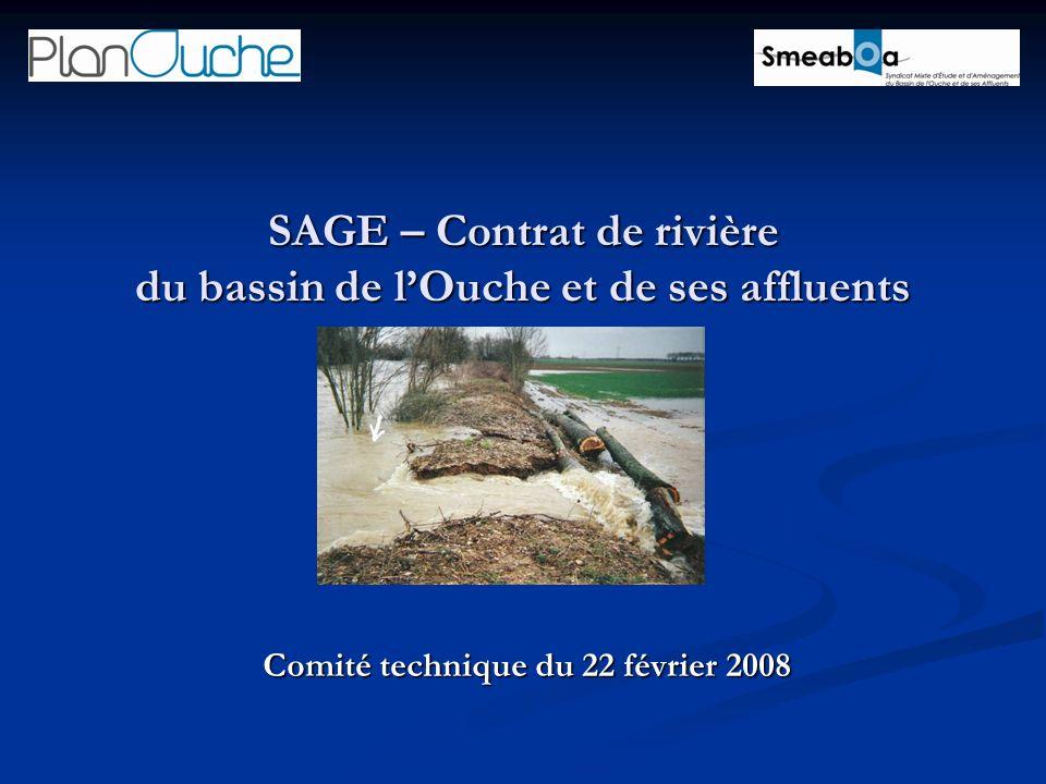 SAGE – Contrat de rivière du bassin de lOuche et de ses affluents Comité technique du 22 février 2008