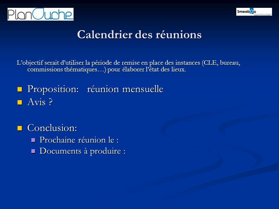 Calendrier des réunions Lobjectif serait dutiliser la période de remise en place des instances (CLE, bureau, commissions thématiques…) pour élaborer létat des lieux.