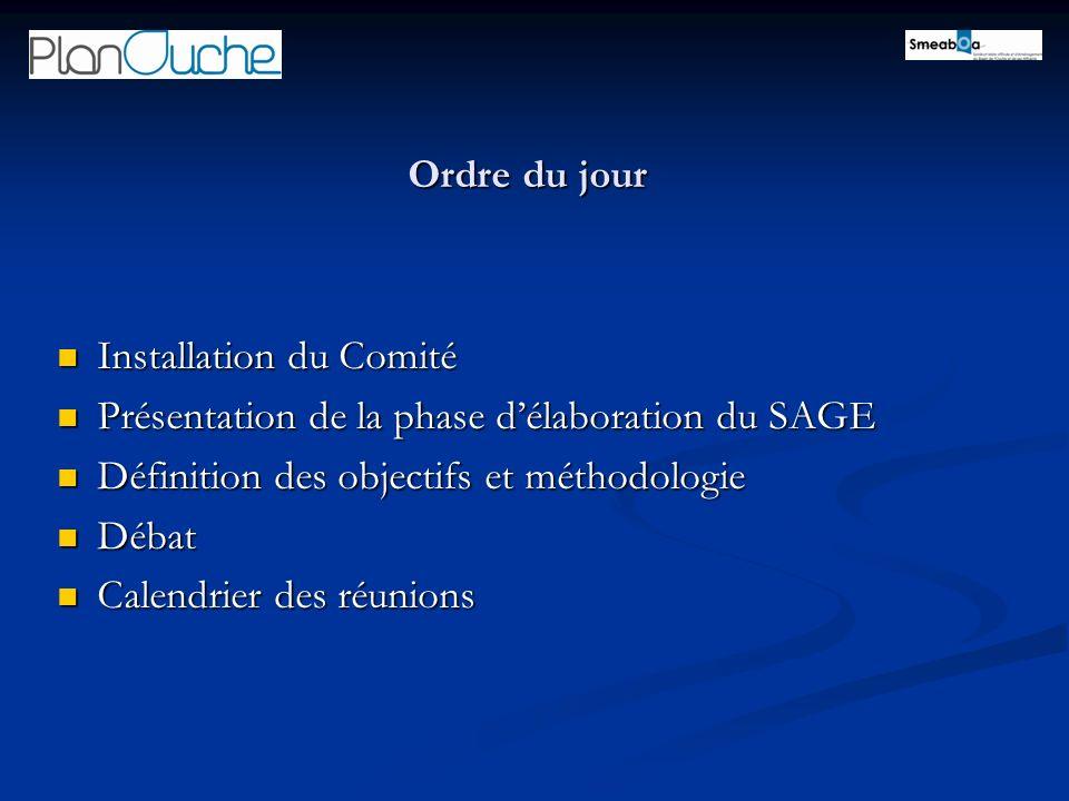 Ordre du jour Installation du Comité Installation du Comité Présentation de la phase délaboration du SAGE Présentation de la phase délaboration du SAG