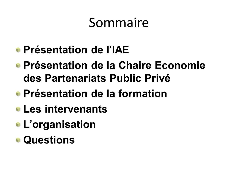 Sommaire Présentation de lIAE Présentation de la Chaire Economie des Partenariats Public Privé Présentation de la formation Les intervenants Lorganisa