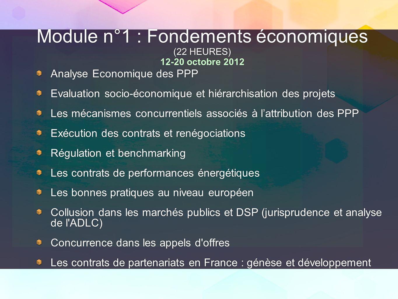 Module n°1 : Fondements économiques (22 HEURES) 12-20 octobre 2012 Analyse Economique des PPP Evaluation socio-économique et hiérarchisation des proje