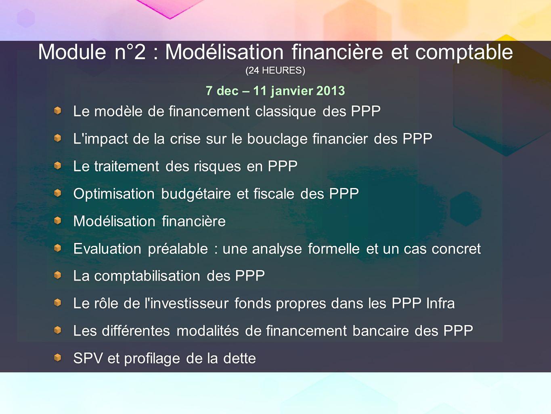 Module n°2 : Modélisation financière et comptable (24 HEURES) 7 dec – 11 janvier 2013 Le modèle de financement classique des PPP L'impact de la crise