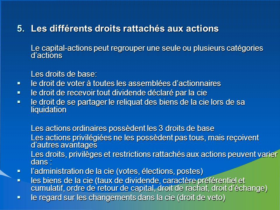 5.Les différents droits rattachés aux actions Le capital-actions peut regrouper une seule ou plusieurs catégories dactions Les droits de base: le droi