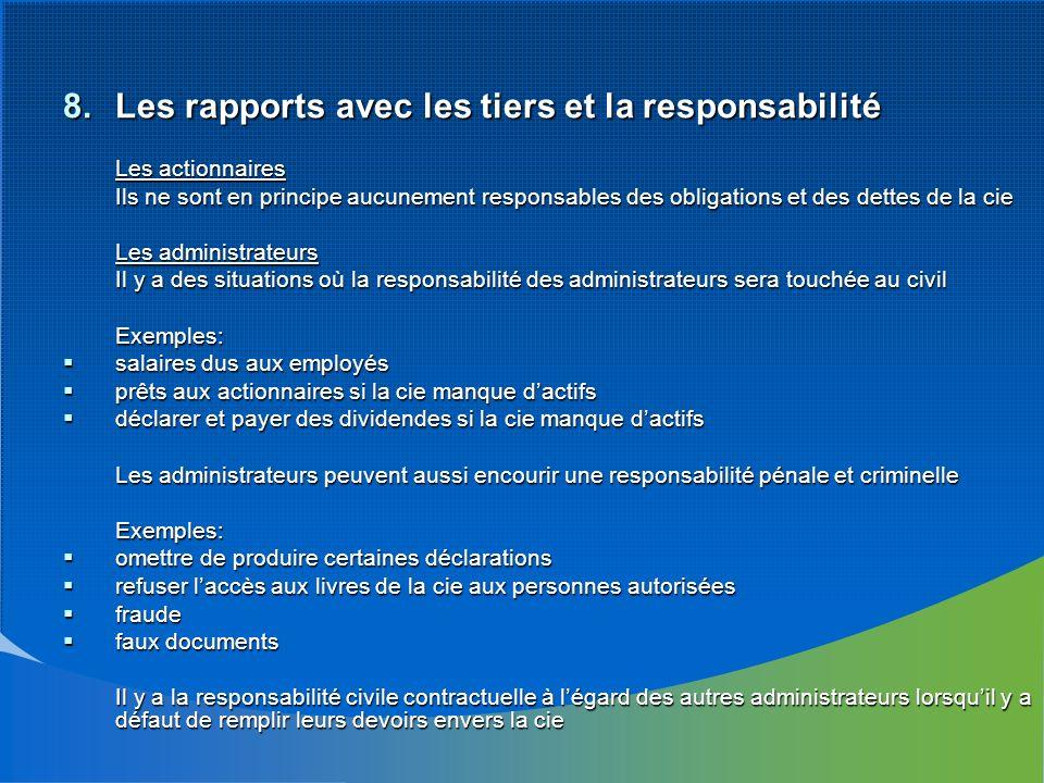 8.Les rapports avec les tiers et la responsabilité Les actionnaires Ils ne sont en principe aucunement responsables des obligations et des dettes de l