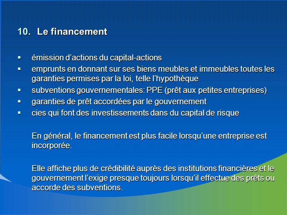 10. Le financement émission dactions du capital-actions émission dactions du capital-actions emprunts en donnant sur ses biens meubles et immeubles to