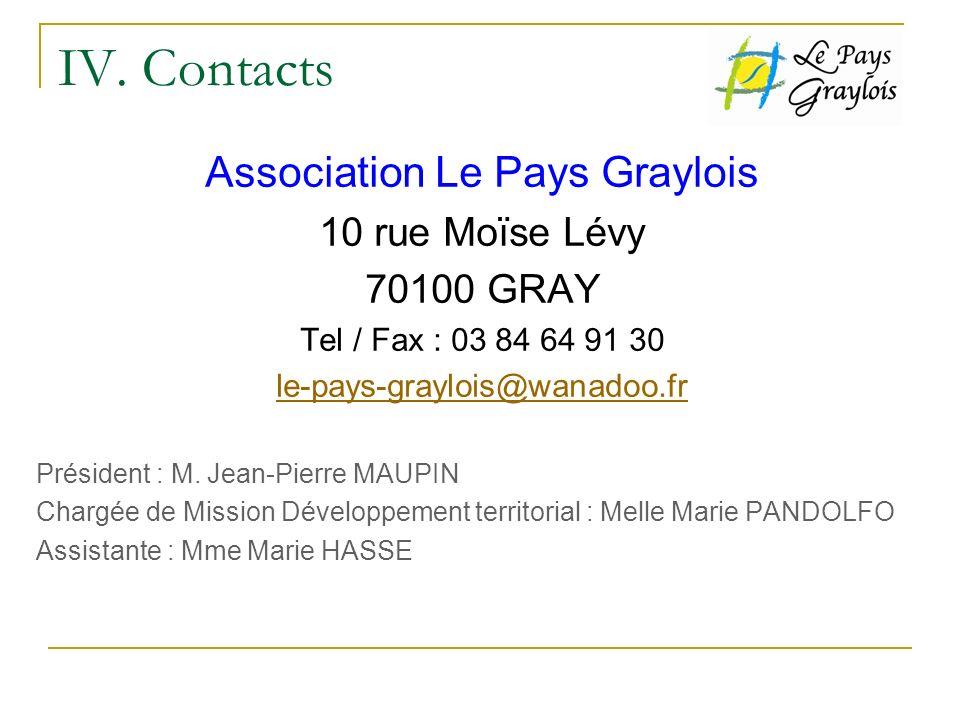 IV. Contacts Association Le Pays Graylois 10 rue Moïse Lévy 70100 GRAY Tel / Fax : 03 84 64 91 30 le-pays-graylois@wanadoo.fr Président : M. Jean-Pier