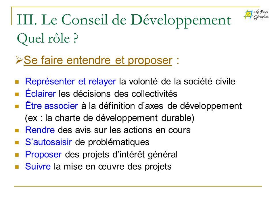 III. Le Conseil de Développement Quel rôle ? Représenter et relayer la volonté de la société civile Éclairer les décisions des collectivités Être asso