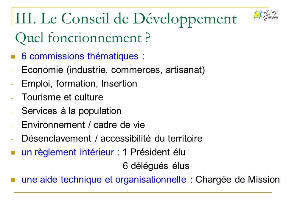 6 commissions thématiques : - Economie (industrie, commerces, artisanat) - Emploi, formation, Insertion - Tourisme et culture - Services à la populati
