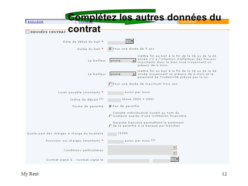 My Rent12 Complétez les autres données du contrat
