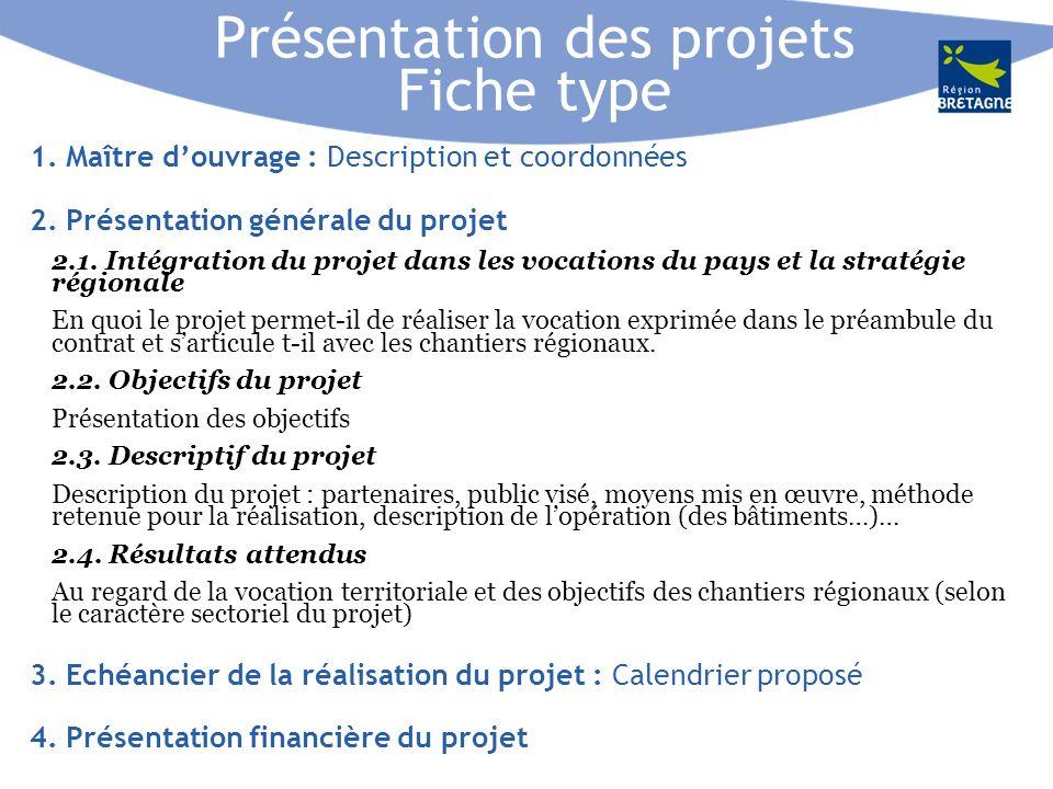 Présentation des projets Fiche type 1. Maître douvrage : Description et coordonnées 2.