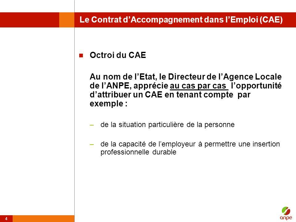 4 Le Contrat dAccompagnement dans lEmploi (CAE) Octroi du CAE Au nom de lEtat, le Directeur de lAgence Locale de lANPE, apprécie au cas par cas loppor