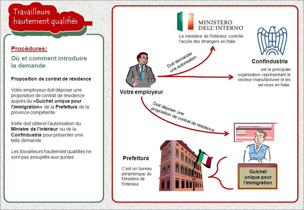 la proposition de l employeur est acceptée Visa Si la proposition de l employeur est acceptée, le «Guichet unique pour l immigration» communiquera la décision à l ambassade italienne dans votre pays d origine et un visa vous sera délivré.