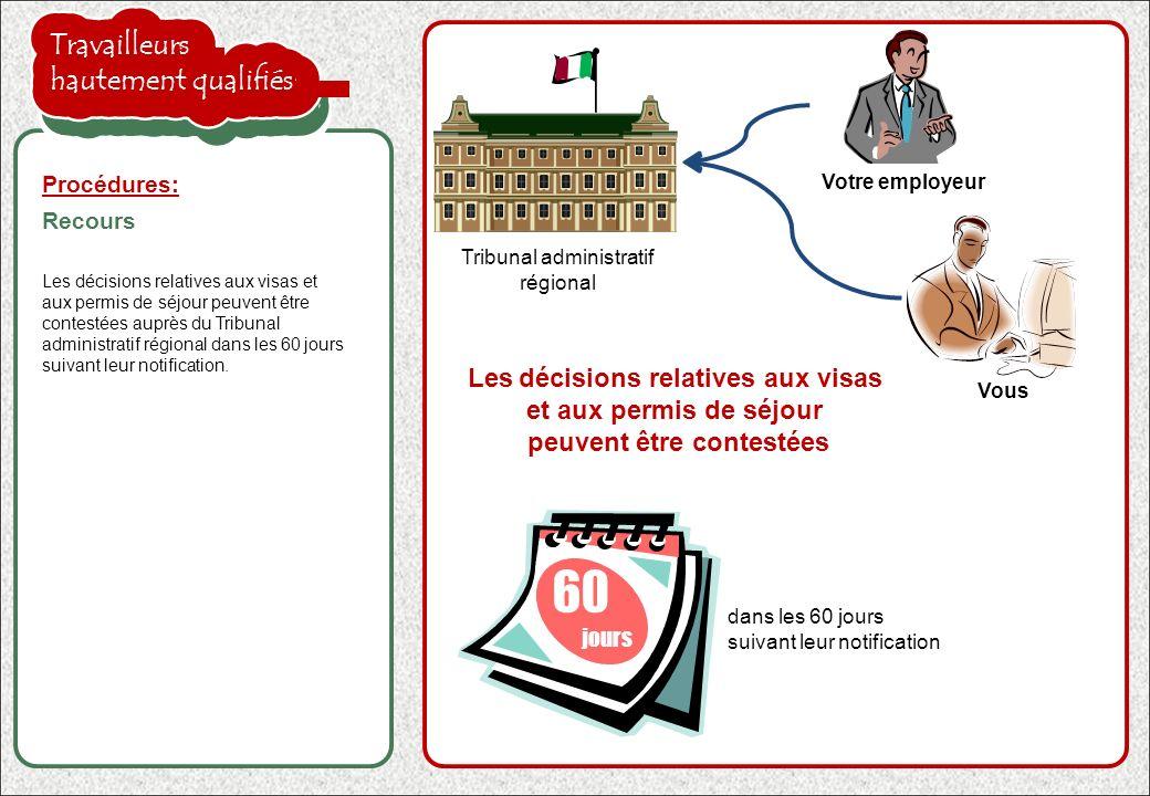 la proposition de l'employeur est acceptée Les décisions relatives aux visas et aux permis de séjour peuvent être contestées auprès du Tribunal admini