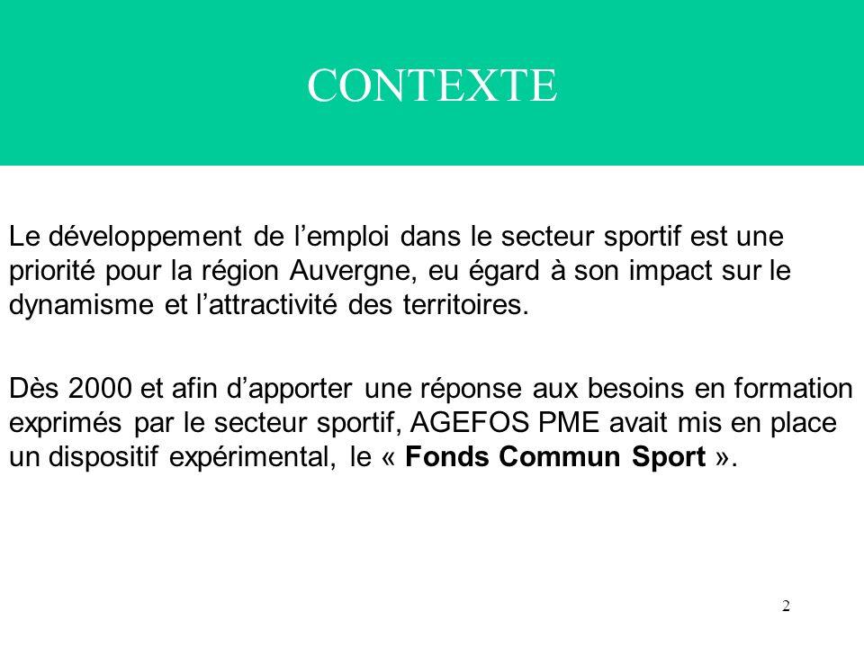 2 CONTEXTE Le développement de lemploi dans le secteur sportif est une priorité pour la région Auvergne, eu égard à son impact sur le dynamisme et lattractivité des territoires.