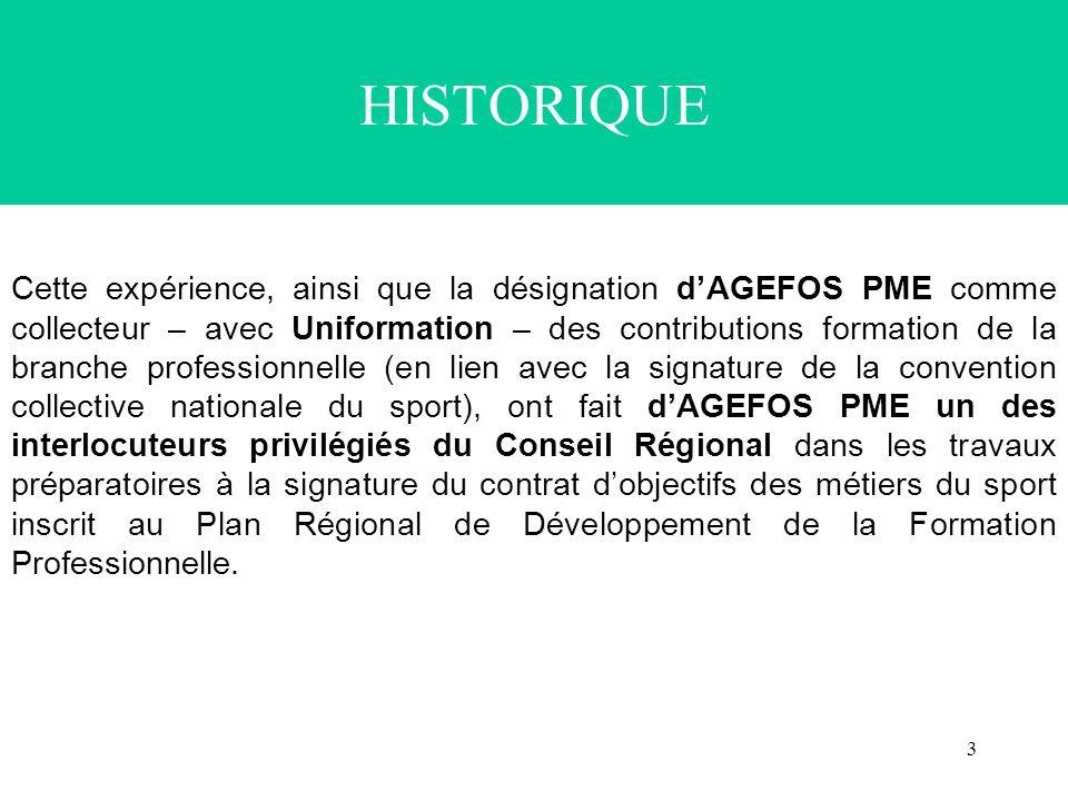 3 HISTORIQUE Cette expérience, ainsi que la désignation dAGEFOS PME comme collecteur – avec Uniformation – des contributions formation de la branche p