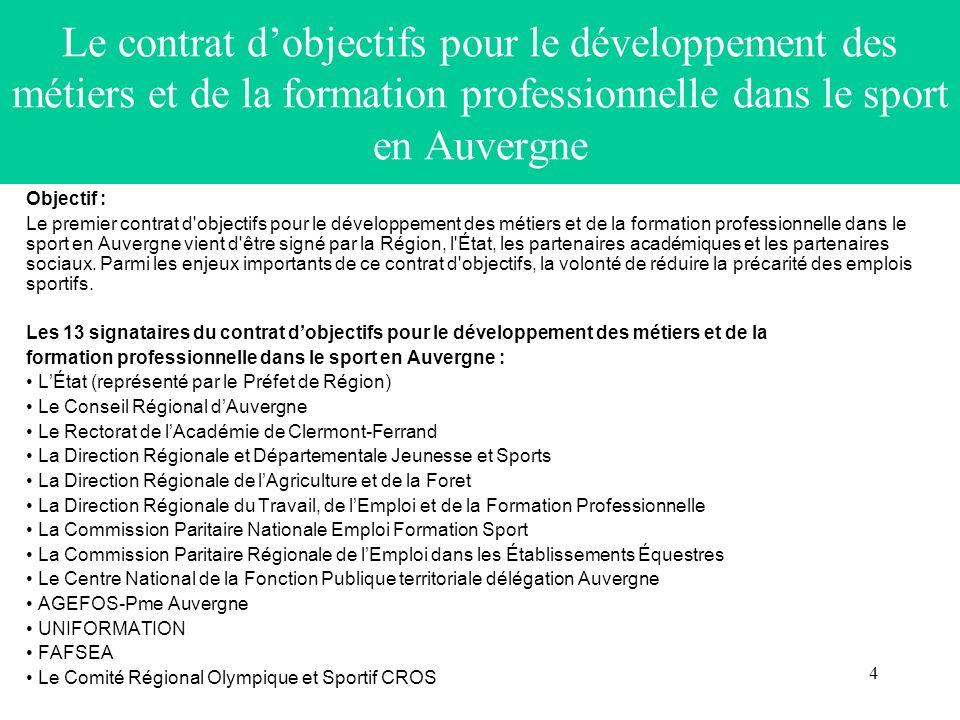 4 Le contrat dobjectifs pour le développement des métiers et de la formation professionnelle dans le sport en Auvergne Objectif : Le premier contrat d objectifs pour le développement des métiers et de la formation professionnelle dans le sport en Auvergne vient d être signé par la Région, l État, les partenaires académiques et les partenaires sociaux.