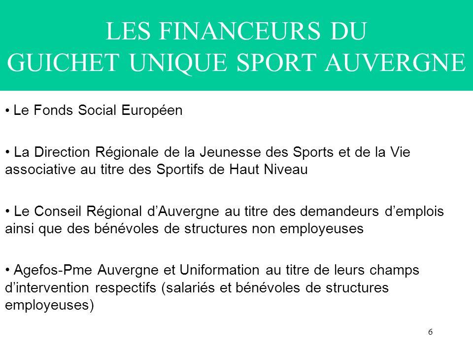 6 LES FINANCEURS DU GUICHET UNIQUE SPORT AUVERGNE Le Fonds Social Européen La Direction Régionale de la Jeunesse des Sports et de la Vie associative a