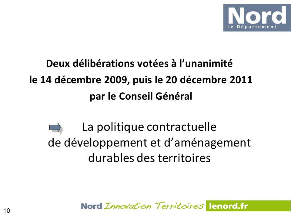 10 Deux délibérations votées à lunanimité le 14 décembre 2009, puis le 20 décembre 2011 par le Conseil Général La politique contractuelle de développe
