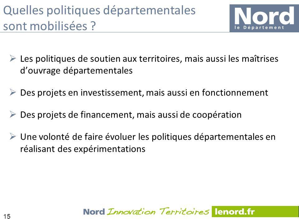 15 Les politiques de soutien aux territoires, mais aussi les maîtrises douvrage départementales Des projets en investissement, mais aussi en fonctionn