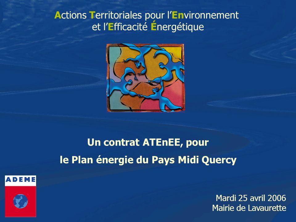 LE DISPOSITIF ATEnEE POUR PMQ ATEnEE : contenu du « Plan Energie pour le Pays Midi-Quercy 3- Mettre en œuvre le programme dactions sur les Energies Renouvelables défini dans le Diagnostic Energétique de Territoire - Identifier des potentiels de développement des ENR sur PMQ, - Définition et mise en œuvre dun Plan daction ENR -> Bois Energie (centres bourgs non desservis par le gaz, bâtiments énergivores, exploitations agricoles) -> Solaire thermique (piscines collectives, établissements de santé, hôtellerie, cuisines centrales, secteur agroalimentaire) -> Solaire photovoltaïque (installations à caractère pédagogique) -> huiles végétales (expérimentations secteur agricole)