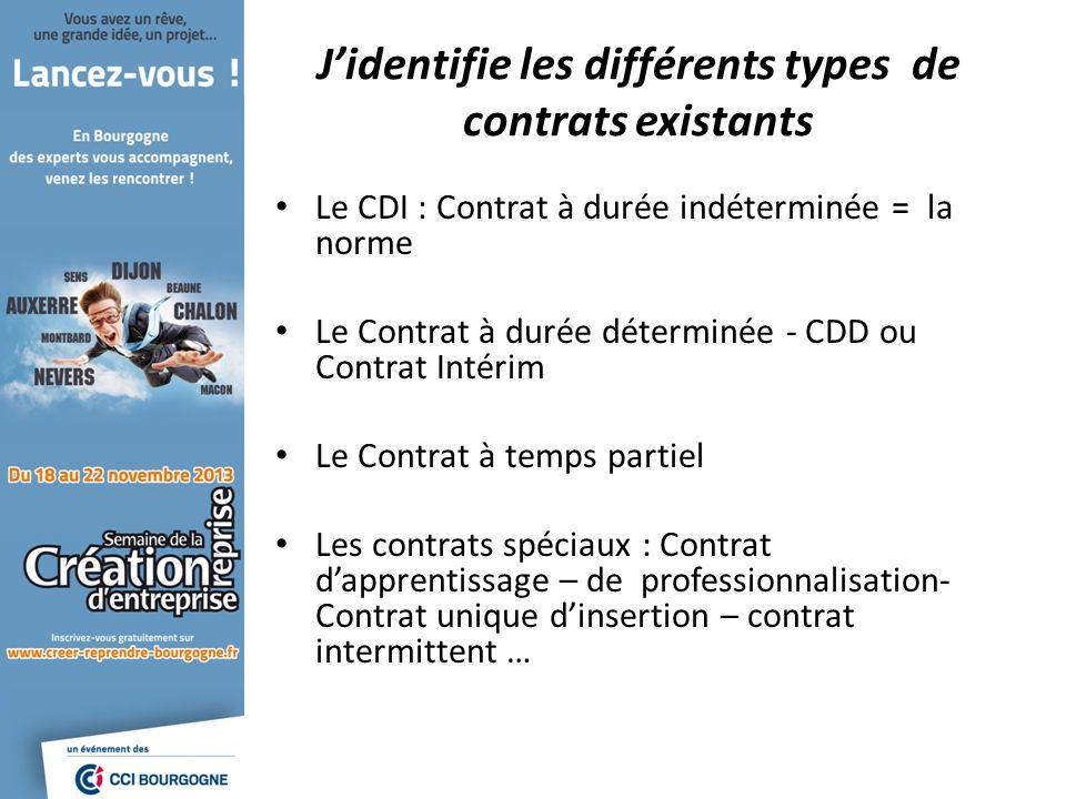 Jidentifie les différents types de contrats existants Le CDI : Contrat à durée indéterminée = la norme Le Contrat à durée déterminée - CDD ou Contrat Intérim Le Contrat à temps partiel Les contrats spéciaux : Contrat dapprentissage – de professionnalisation- Contrat unique dinsertion – contrat intermittent …
