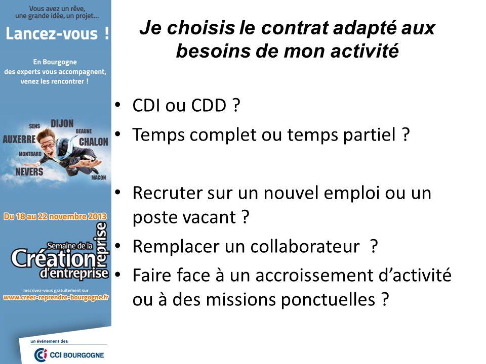 Je choisis le contrat adapté aux besoins de mon activité CDI ou CDD .