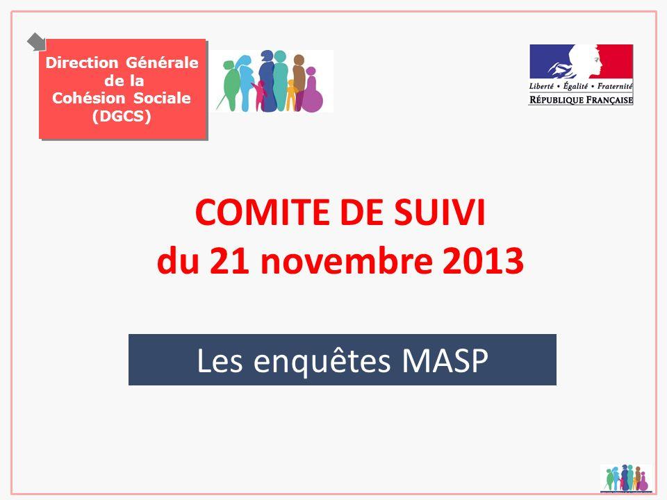 Direction Générale de la Cohésion Sociale (DGCS) Direction Générale de la Cohésion Sociale (DGCS) COMITE DE SUIVI du 21 novembre 2013 Les enquêtes MAS