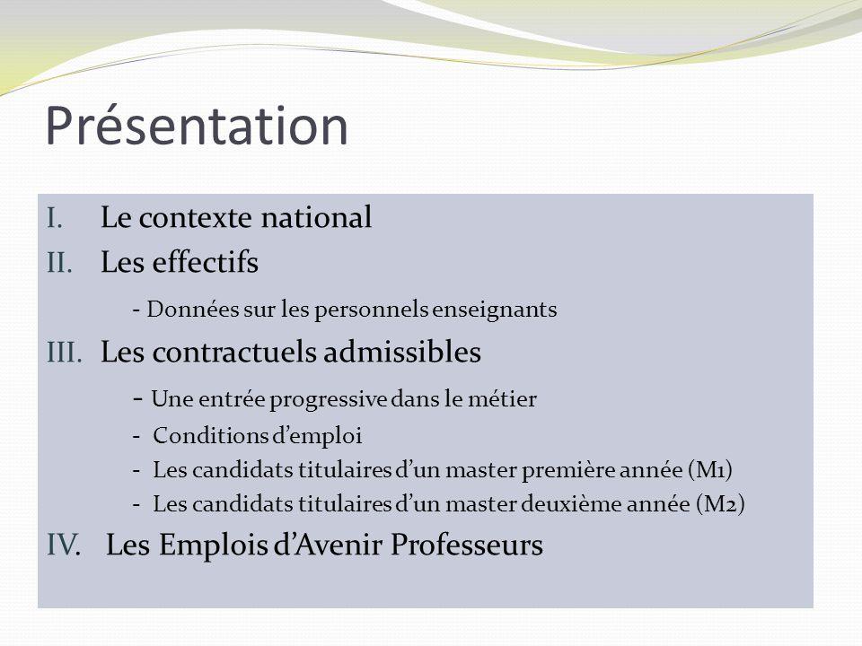 Présentation I. Le contexte national II. Les effectifs - Données sur les personnels enseignants III. Les contractuels admissibles - Une entrée progres